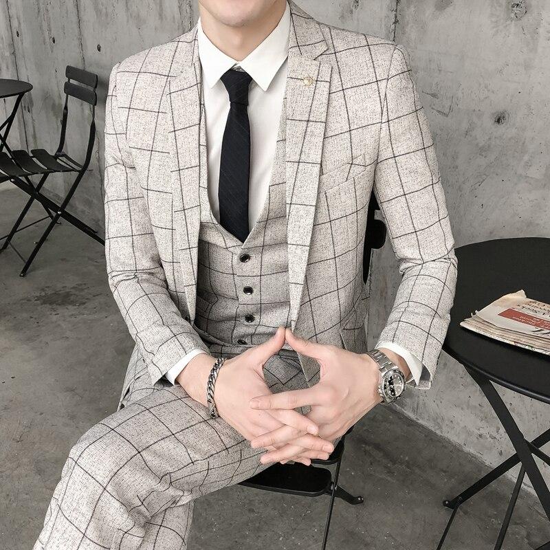 (Blazer+vest+pants) 2019 New Fashion Plaid Men's Suit Beige Grey Casual Groom Wedding Dress Men Banquet Prom Tuxedo Slim Suit