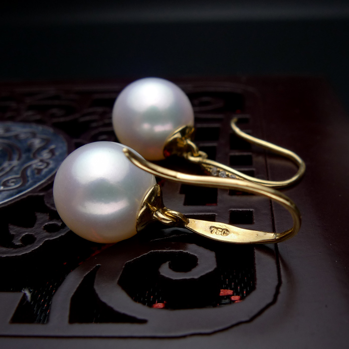 925 silver real natural big inlaid natural South African , super mirror light, natural pearl earrings, jewelry g earrings - 4