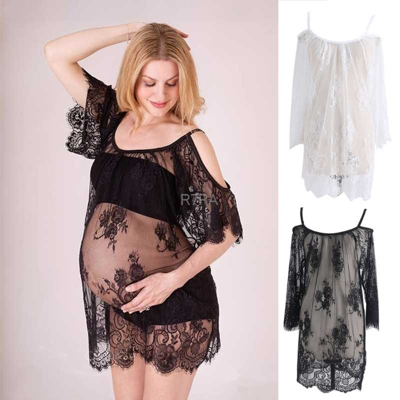 d772998e95a7 Lace See Through Maternity Dresses Sleepwear Studio Clothes Pregnancy Photo  Prop for Pregnant women