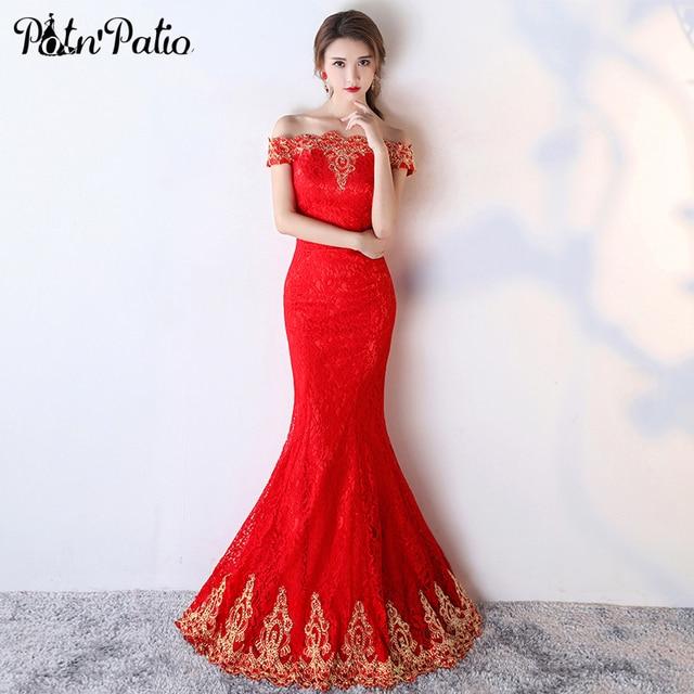 PotN\'Patio Rote Spitze Meerjungfrau Kleid Elegante Boot ausschnitt ...