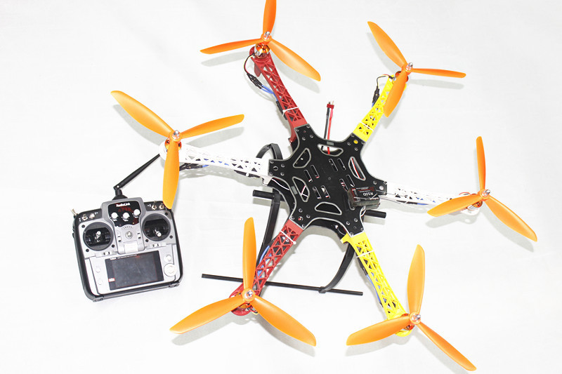 F05114-AF F550 Hexa-Rotor  Frame FlameWheel Kit RTF UFO Assembled Kit with Landing Gear Radiolink AT10 TX&RX NO Battery Adapter