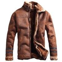 Русский Стиль зимние мужские меховой Искусственная кожа куртка Повседневное моды Streewear мужские из искусственного меха Кожаные куртки паль