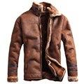 Estilo ruso de Invierno Mens Calientes Streewear Moda Casual Chaqueta de Cuero de Piel de Invierno Para Hombre Chaquetas de Cuero de Piel de Terciopelo Abrigo C235