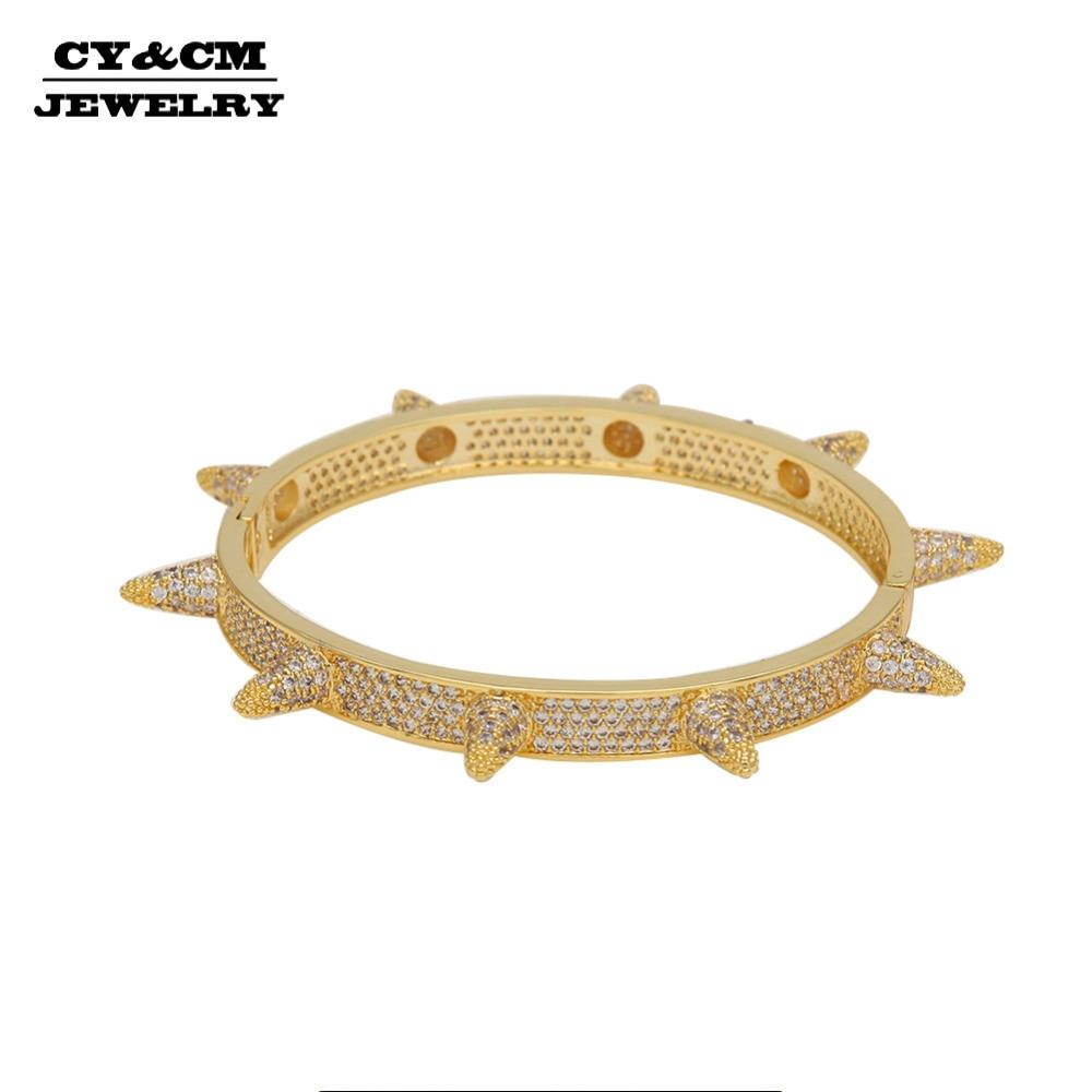 CY & CM 7mm hommes barbelés pointes Rivet cône clou manchette Bracelets Bracelets pavage cubique zircone Bling Bling gothique bijoux