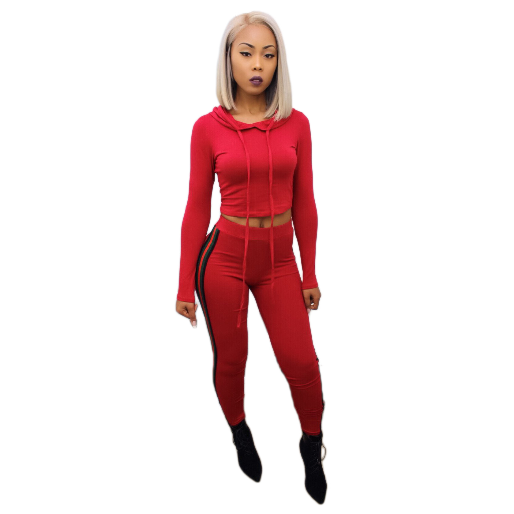 NEW Red/black Womens Sweat Suits Autumn Long Sleeve Short Crop Hoodies Tracksuit Two Pieces Trousers Womens 2 Piece Outfit Sets
