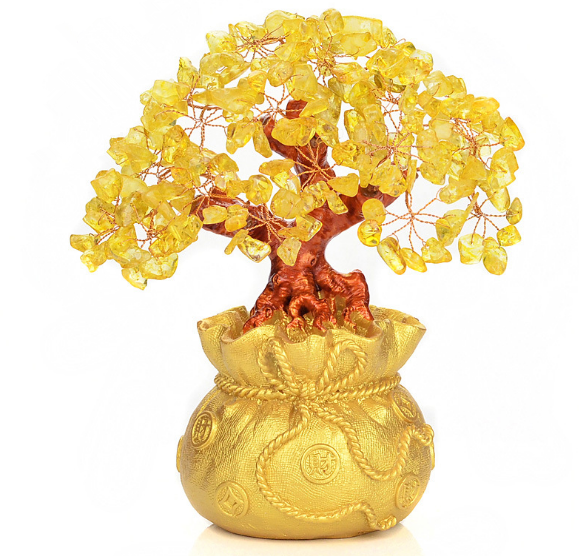 Fashion Tall Mini Crystal Money Tree Bonsai Style Wealth Luck Feng Shui Bring Wealth Luck Home Decor Birthday Gift Q271