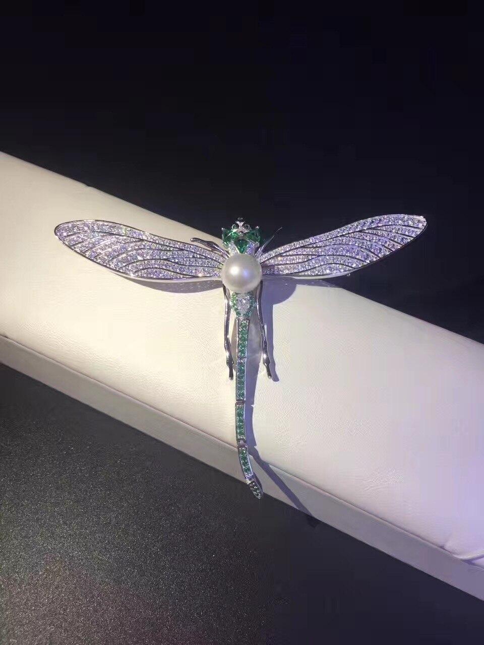 925 en argent sterling avec zircon cubique libellule broche pins naturel perle d'eau douce 7-8 MM parfait ronde mode femmes bijoux