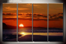4PC sunrise over the sea wall decorative modern art oil painting (no frame)