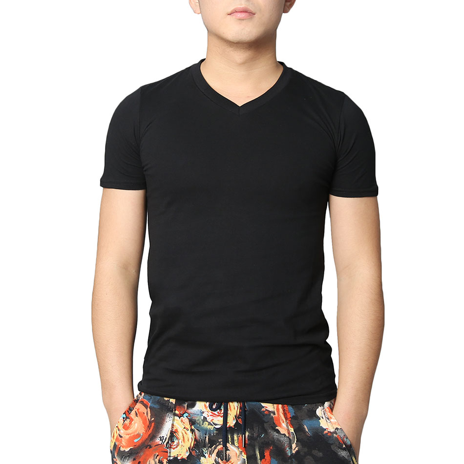 87745d30609a Solid Men V Neck T Shirts Short Sleeve Slim T Shirt Cotton Black Tops White Tee  Shirts Classic Hip Hop Plain Pattern