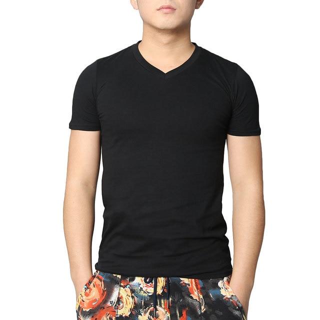 4ba5638ed11fbd Solide Männer V-ausschnitt T Shirts Kurzarm Dünnes T-shirt baumwolle Schwarz  Tops Weiß