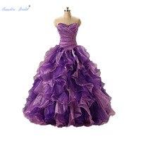 Sapphire Bridal Purple Ruffles Pleat Long Party Gowns Vestido De 15 Anos De Side Beading Lace Up Ball Gown Quinceanera Dress