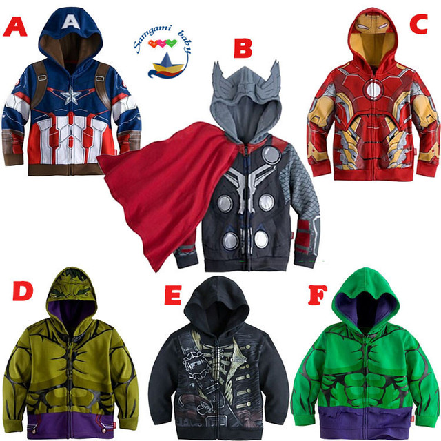Niños chicos hulk Capitán América, iron Man el nuevo abrigo niños Sudadera con capucha ropa delgada trenza niños Cosplay Tops chaquetas