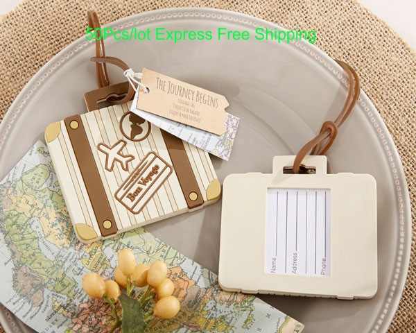 50pcs Lot Wedding Gift For Guests Vintage Suitcase Airplane Luggage Tag Favor Travel Themed