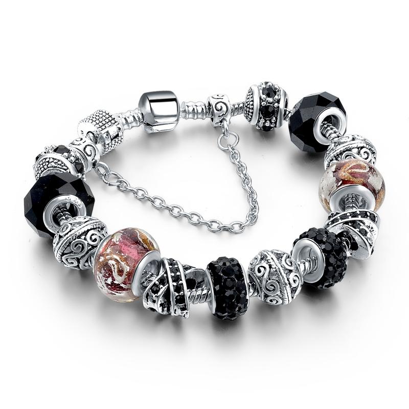 CHICVIE Black Crystal Chain Link Bracelets For Women Female Charm Custom Bracelets & Bangles DIY Silver Color Jewelry SBR160014 19