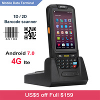 Wireless touch screen smartphone wifi 4G android 7.0 handheld mobile PDA 1D laser barcode data collector 2D Bar code reader