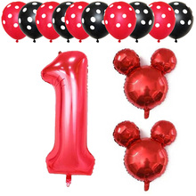 13pcs 30 Number 1 2 3 4 5 Foil Balloons 2.8g Latex Globos Baby Shower Birthday Party Decor Mickey Minnie Head Supplies Kids Toy