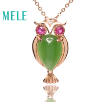 Natural green hetian jade silver 925 pendant for women and man,animal owl shape with red tourmaline Simple fine jewelry