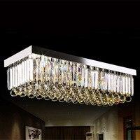 Свет люстры E14 лампы 95 245 В водонепроницаемый драйвер лазерного металлическое основание K9 кристалл прямоугольник дизайн гостиной