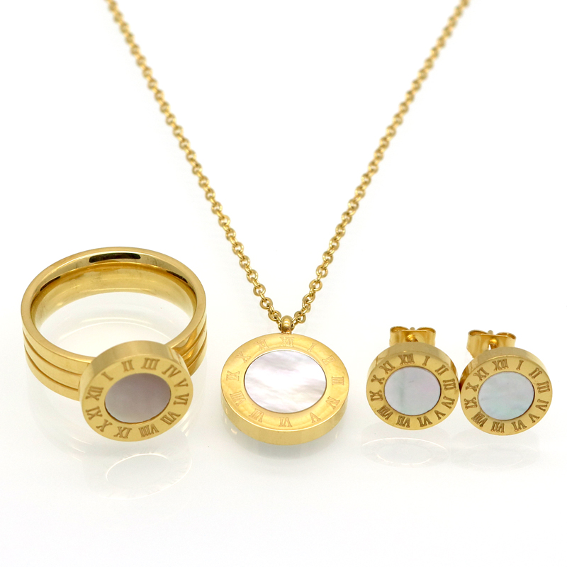 Fashion Women Brand Jewelry Roman Letter Gold Color Stainless Steel Pearl Shell Wedding Jewelry Sets Necklace+Earrings+Ring