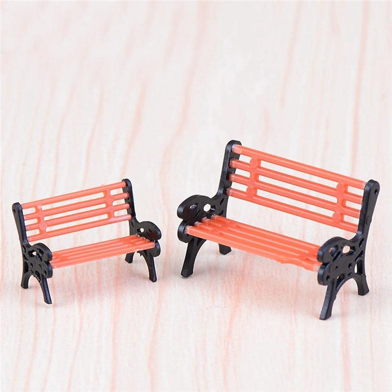 2pcs Mini Chair Bench Home Decor Miniatures Fairy Garden Ornaments Figurines Toys DIY Aquarium/Dollhouse Accessories Decoration
