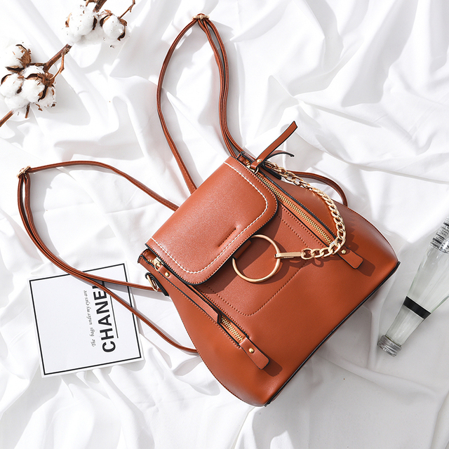 bdba1a748f9 Fashion PU Leather Women Backpack Female Fashion Rucksack Brand Designer  Ladies Back Bag High Quality School Bag