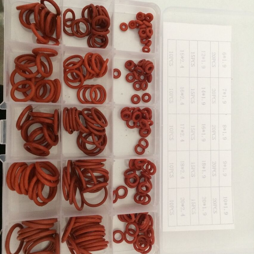 225 Piece 6mm to 20mm Silicone Rubber washers O-Ring Kit O seal ring gasket assortment free shipping b546 o to 220