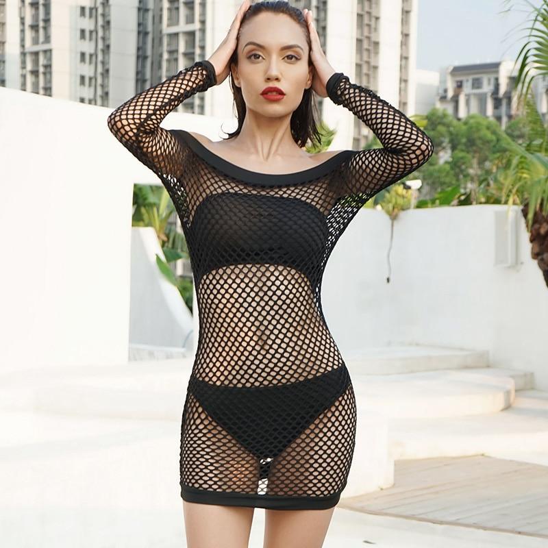JYSS summer women sexy mesh dresses black hollow out long-sleeved off shoulder club perspective net dress female girls 9631