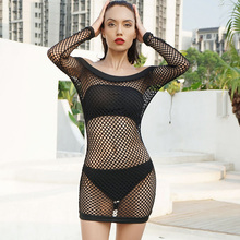 summer women sexy netting mesh dresses black hollow out long-sleeved off shoulder club perspective net dress female girls 9631