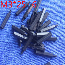 universal 25pcs/lot M3*20+6 Black Nylon Standoff Spacer Standard M3 Male-Female 20mm Kit Repair Set High Quality