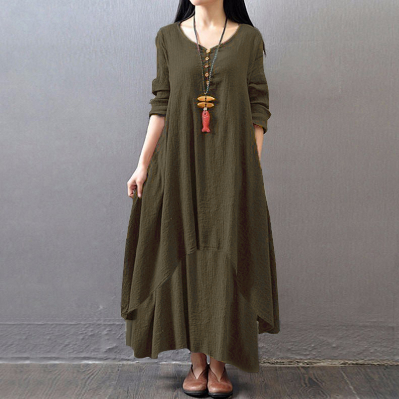 EaseHut Vintage Women Casual Loose Dress Solid Long Sleeve Boho Ethnic Autumn Long Maxi Dresses Plus Size Retro vestido mujer 7