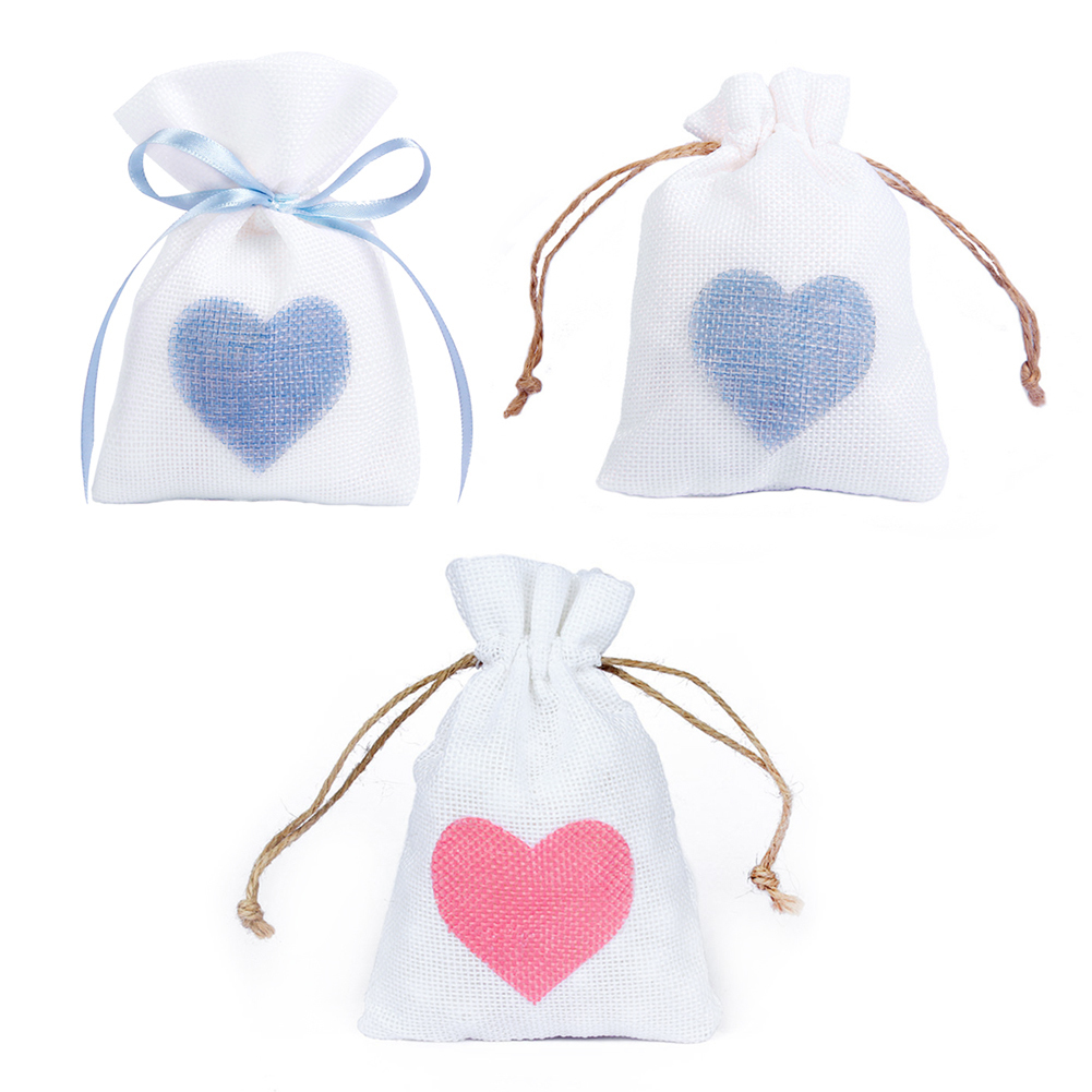 12 PCS 10x14cm Linen Jute Drawstring Gift Bags Sacks Party Favors Packaging Bag Wedding  ...