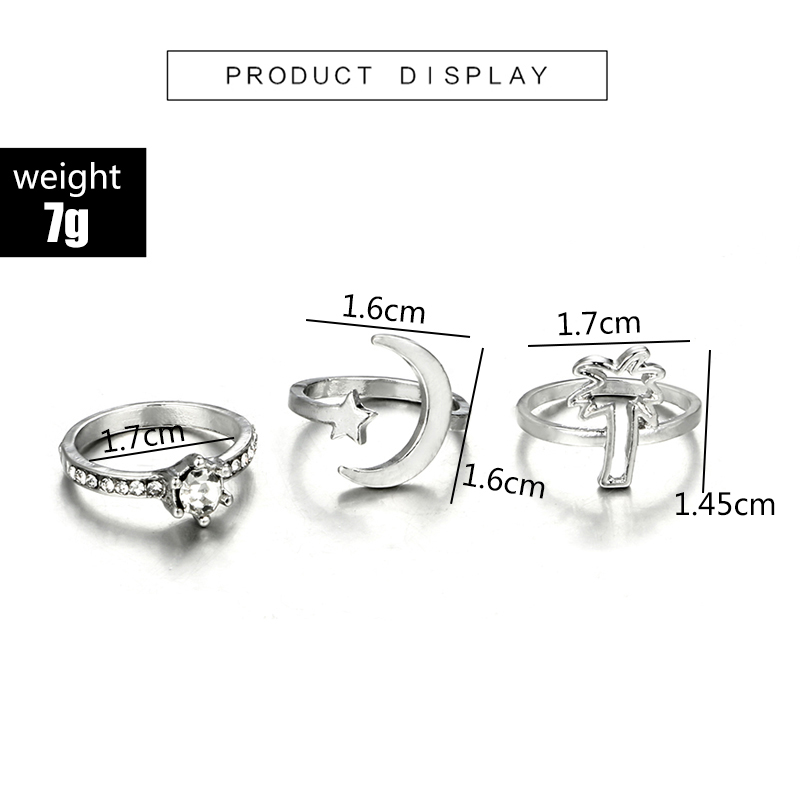 HuaTang Bohemian Antique Silver Ring Geometric Elephant Flower Green Rhinestone Knuckle Rings Midi Finger Anel Rings Jewelry 39