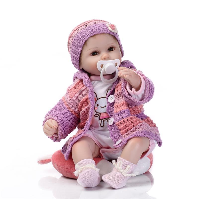 Npk 현실적인 아기 인형 재 탄생 소녀 18 ''실물 같은 부드러운 실리콘 아기 다시 태어난 아기 인형 장난감 어린이 생일 선물 42cm-에서인형부터 완구 & 취미 의  그룹 1
