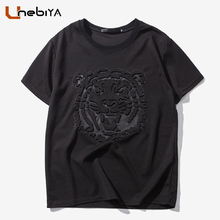 Extra High Quality T Shirt Tiger Emboss Neoprene t-shirt Crewneck Hoverboard compression Tee Shirt Homme Hipster tshirt Men 5XL