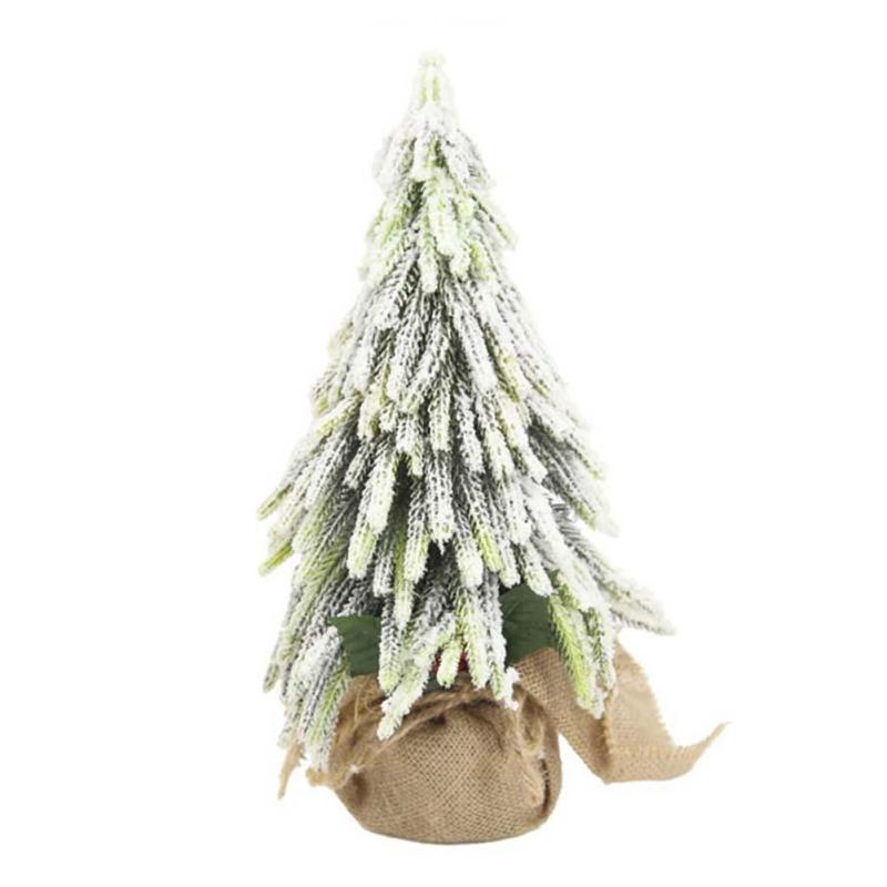 1Pc Mini Christmas Tree Green Snow Artificial Christmas ...