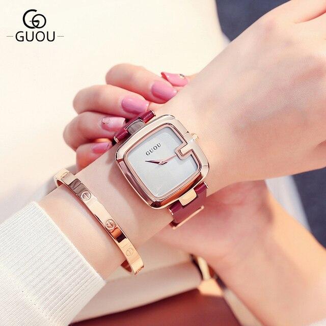 Novo Design de Moda Relógio GUOU Marca Mulheres Pulseira de Couro Mostrador  Quadrado relógio de Pulso c54ccd9131