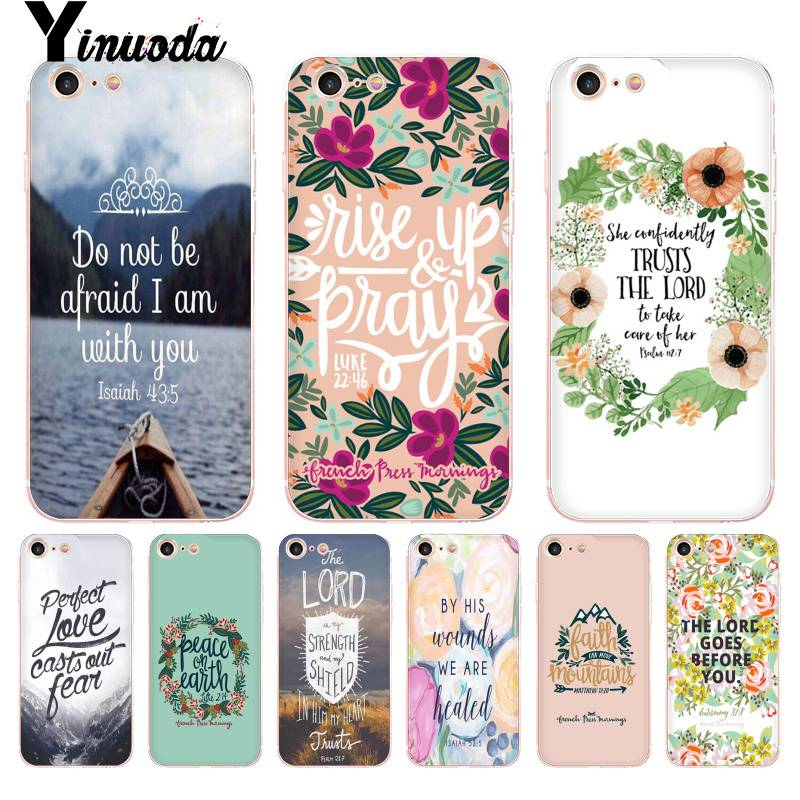 Yinuoda For iphone 7 6 X Case Bible verse Philippians Jesus Christ Christian Phone Case for iPhone 8 7 6 6S Plus X 10 5 5S SE 5C