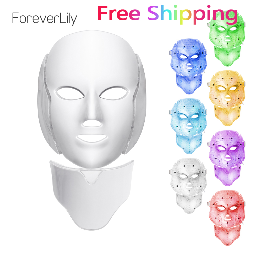 Foreverlily светодиодный маска для лица терапия 7 цветов уход за кожей лица устройство для приготовления маски Фотон терапия свет уход за кожей у...