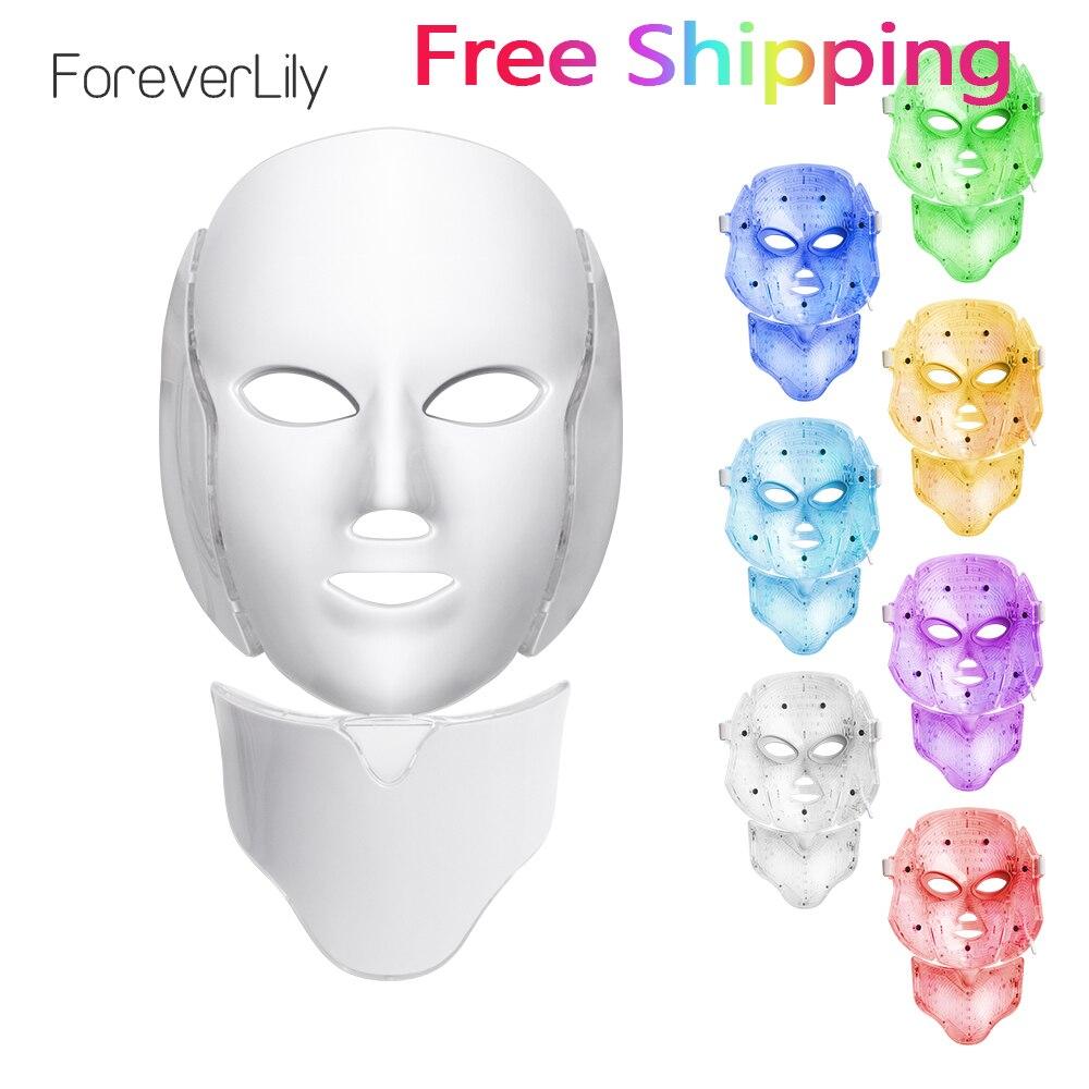 Foreverlily LED máscara Facial terapia 7 colores cara máscara de fotones de terapia de luz de cuidado de la piel arruga eliminación de acné belleza de rostro.