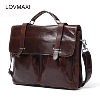 LOVMAXI European And American HOT Leather Men Business Handbags Male Leather Briefcase Retro Shoulder Bag Messenger