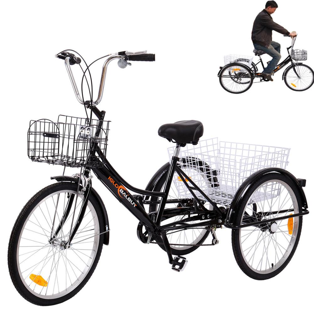 (Ship from Germany) 24 6 speed 3 Wheel Adult Tricycle Bicycle Trike Cruise Bike increase 2 Basket(Ship from Germany) 24 6 speed 3 Wheel Adult Tricycle Bicycle Trike Cruise Bike increase 2 Basket