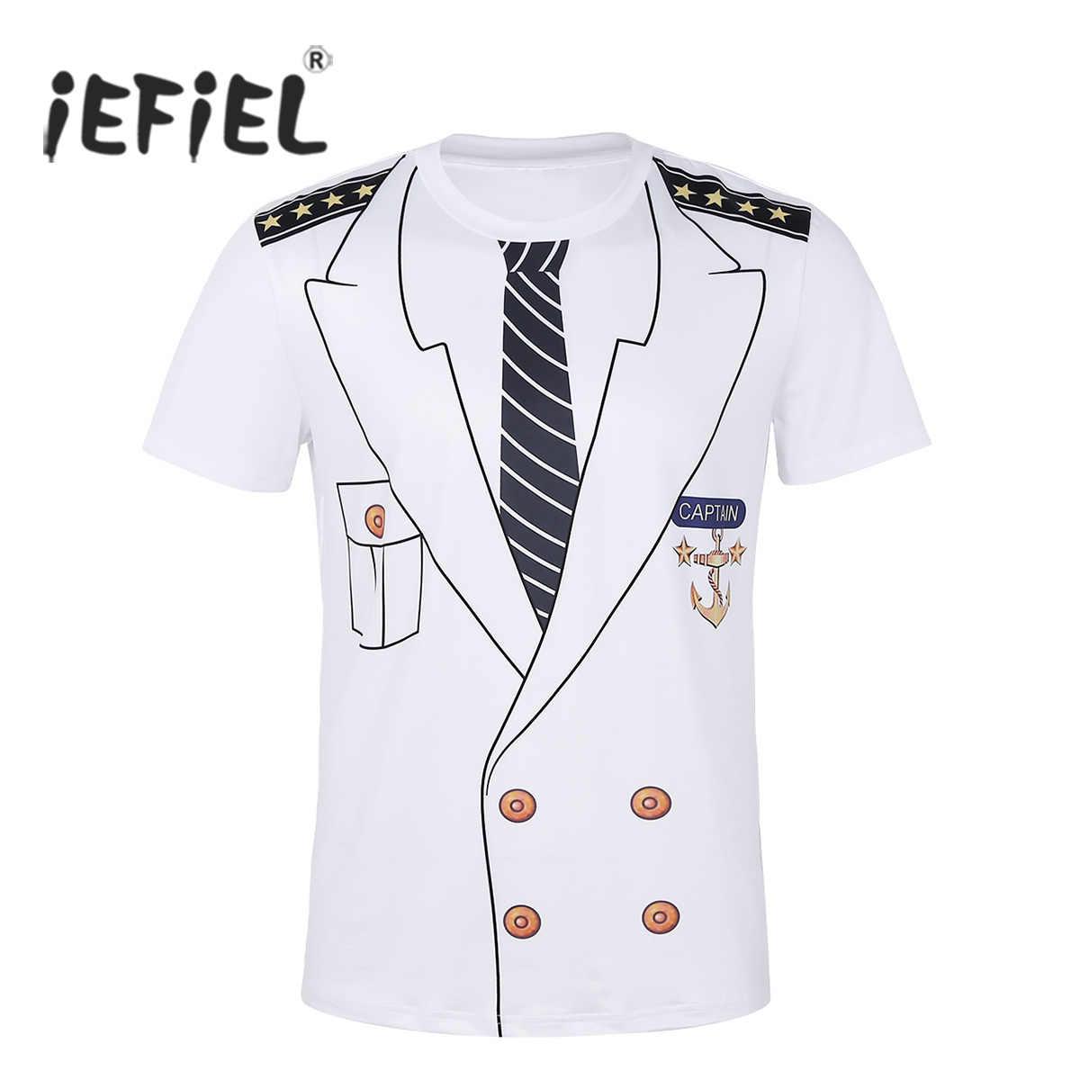 3a0350fe Mens Captain Costume T-Shirts Cosplay Halloween Tee Adult Man Tops Pirate  Clown Pilot Uniform