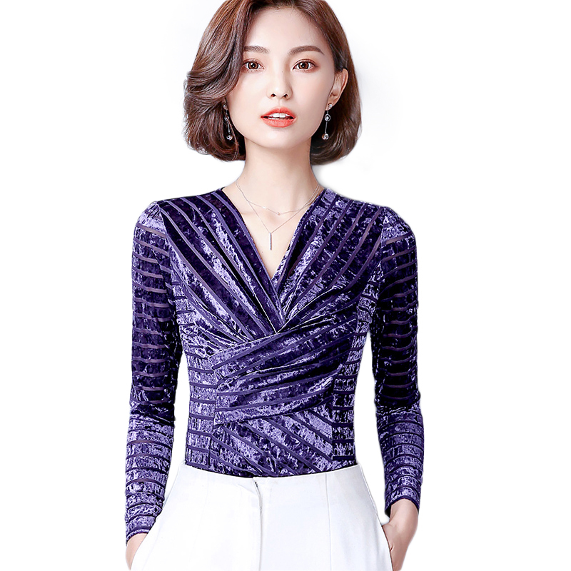Soperwillton 2018 High Quality Autumn Office OL Blouse Shirt Velevt Solid V  Neck Tops Long Sleeve Female Clothing Plus Size A904-in Blouses   Shirts  from ... 051e800c42c1