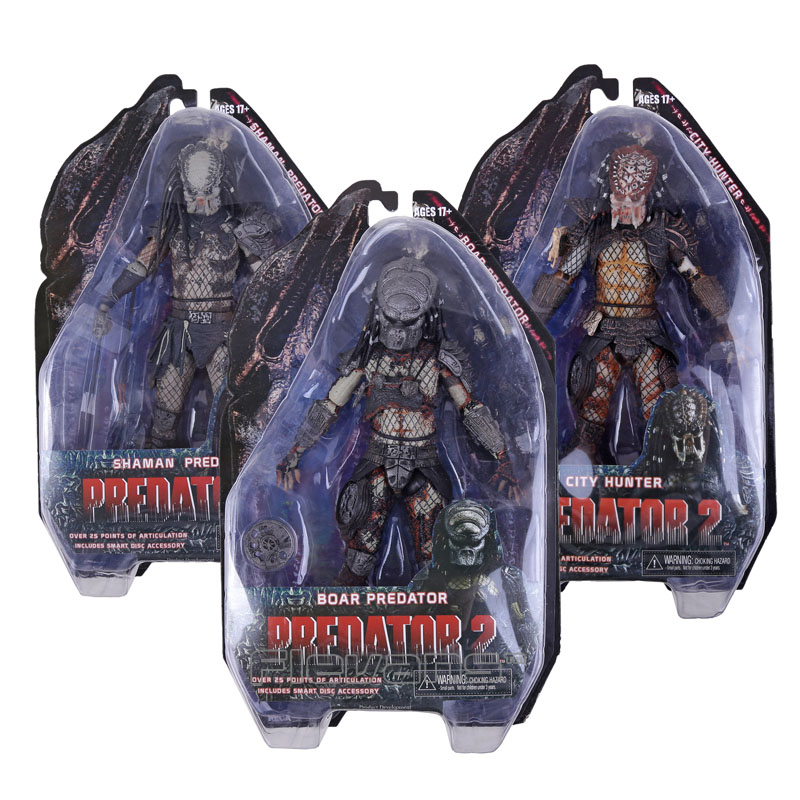 NECA Predator 2 SHAMAN PREDATOR/ BOAR PREDATOR / CITY HUNTER PVC Action Figure Collectible Model Toy 7 18cm neca a nightmare on elm street 3 dream warriors pvc action figure collectible model toy 7 18cm kt3424