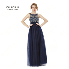 oucui Navy Blue Long Evening Dress Tulle Beaded Sexy