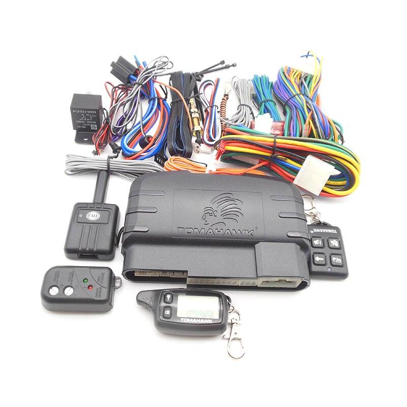 Système d'alarme de voiture bidirectionnelle Version anglaise/russe avec démarrage à distance du moteur LCD alarme de voiture à 2 voies Tomahawk TW9010 alarme de voiture pour voiture