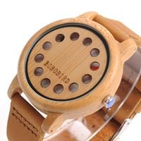 BOBO BIRD WA26 Nature Bamboo Quartz Watch For Women Men Creative Design Dial Face With Red