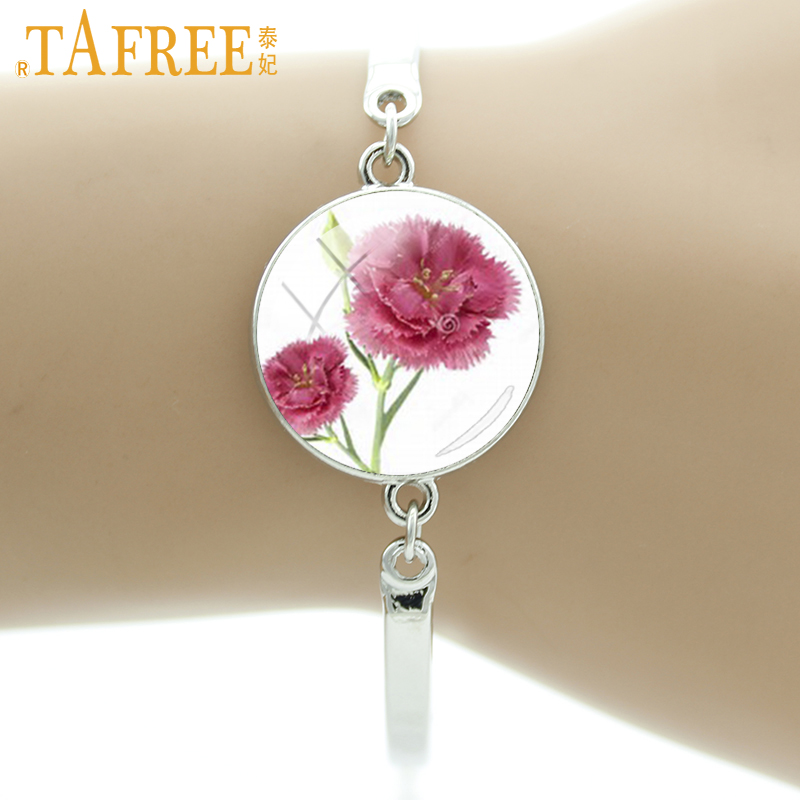 TAFREE charming wedding pink Carnation glass gem women charm bracelet beauty flower blessing presents for mother mum mom E724