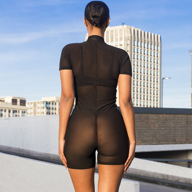 Reflective Letter Black Mesh Fitted Romper Women Sexy Playsuit See Through Zipper Bodycon Jumpsuit Short Summer C66-I3 4
