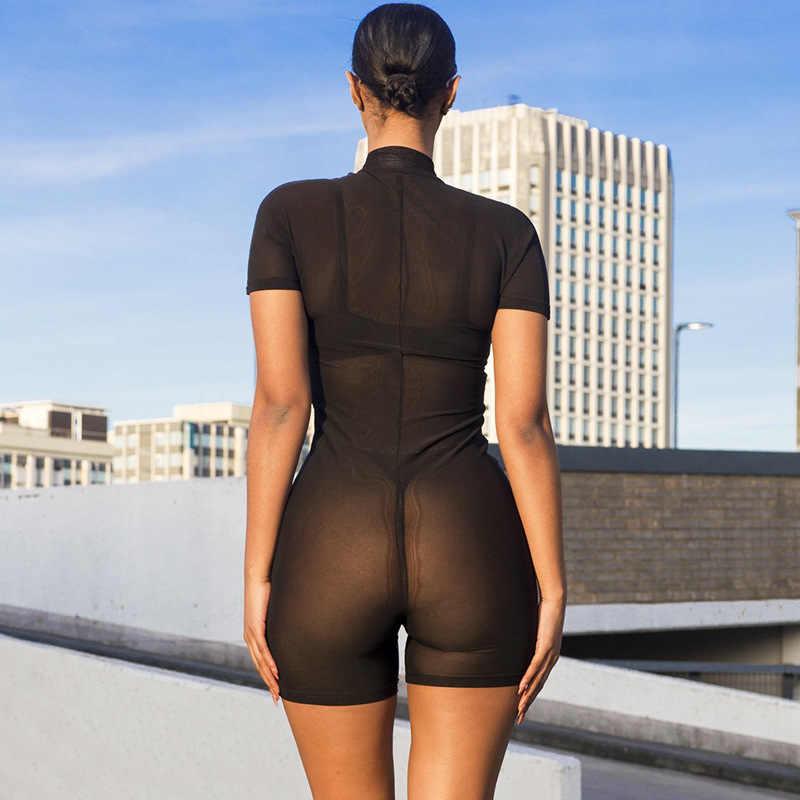BOOFEENAA 反射文字黒メッシュフィットロンパース女性のセクシーな遊び着はジッパーボディコンジャンプスーツショート夏 C66-I3